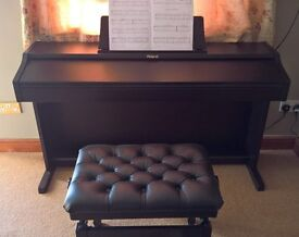 Roland RP201 Digital Piano, fully weighted keys, leather and satin black stool