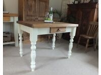 New 4ft Rustic Pine Farmhouse Kitchen Dining Table With Drawer