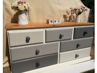 Solid pine set of drawers. Grey. TV stand. Bedroom furniture. Hall cupboard