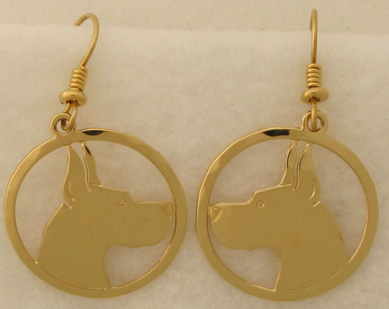 Great Dane Jewelry  Gold Dangle Head Earrings  by Touchstone