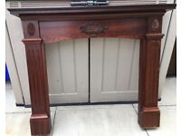 FIREPLACE SURROUND WOOD PLUS WHITE MARBLE INSET AND HEARTH PLEASE SEE ALL PHOTOS