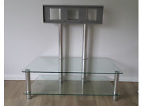 Cantilever TV stand - clear glass shelves, holds up to 50 inch TV