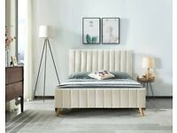 ⭐️Imported Furniture⭐️(4ft 6inch)Double Size Fully Plush Velvet lucy Beds Frame W Optional Mattress.
