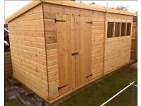 14x7 FT LARGE PENT T&G HEAVY DUTY WOODEN STORAGE SHED WORKSHOP FULLY FITTED FREE