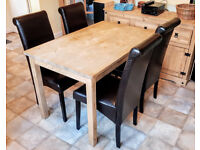 Pine Kitchen Table and 4 Faux Leather Chairs