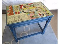 Decoupage Beano Blue Kids Side Table - Vintage table newly refurbished