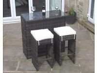 2 Seater Bar Set in Brown Rattan - Outdoor Garden Furniture Brand New in Box