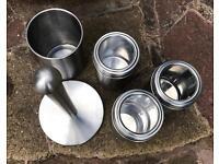 Brushed steel kitchenware