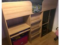Mid sleeper bed with desk, wardrobe and draws