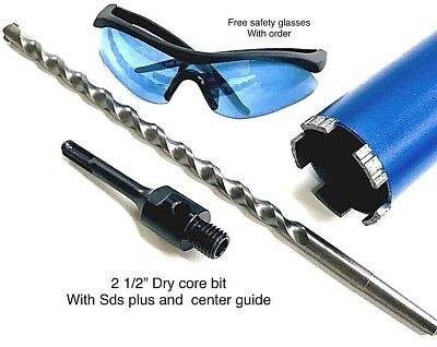 2 12 Dry Core Bit Sds Plus Adapter Center Guide Rotary Hammer Drill 2.5