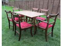 Dining table and 6 chairs Vintage retro gateleg , 2 arm chairs detachable seats solid wood chairs