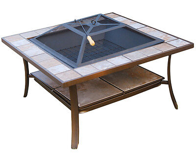 "Outsunny 36"" Square Outdoor Backyard Patio Firepit Table - Deck Fire Pit Bowl on Rummage"