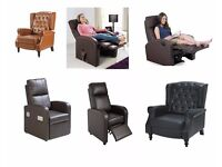 BRAND NEW RECLINER FAUX LEATHER MASSAGE GAMING SPEAKER CHAIRS IN BLACK / BROWN / VERY COMFORTABLE