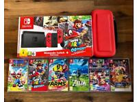 Nintendo Switch Red Mario Odyssey Ltd Ed + 1 Top Game Choice - Like New Mint Condition - Lichfield
