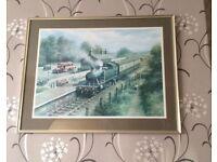 Framed print of The Western Train & surroundings in lovely gold coloured frame