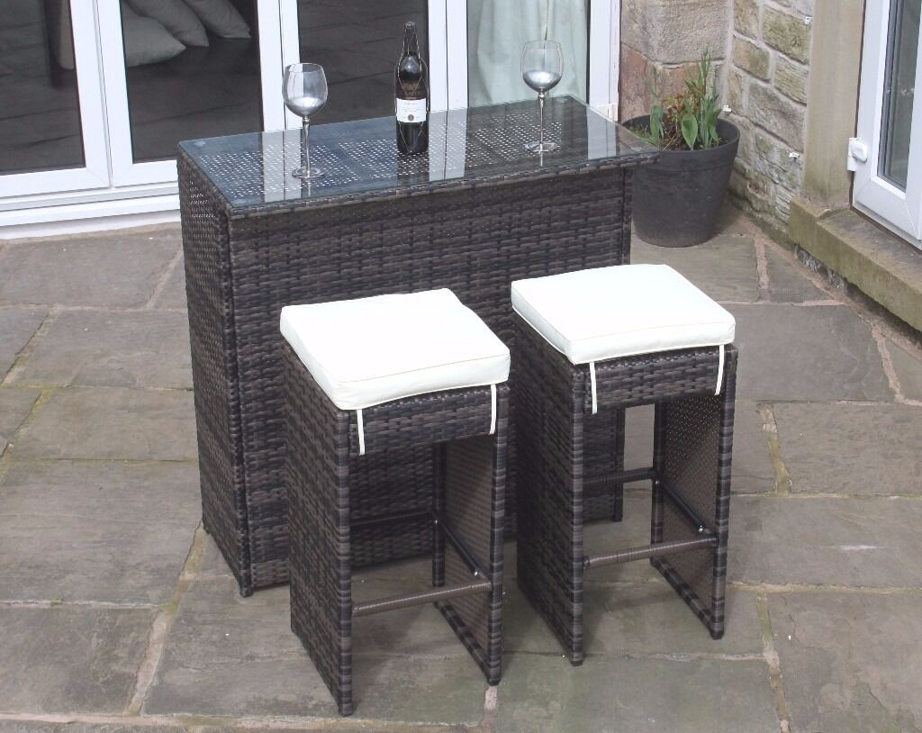 2 seater bar set in brown rattan outdoor garden. Black Bedroom Furniture Sets. Home Design Ideas