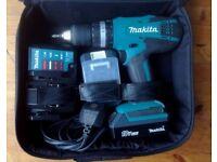 Makita Cordless 18V li-ion Power Drill w/Drill Bits