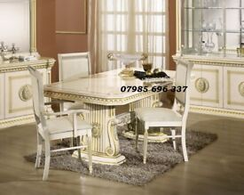 Rossella Italian Dining Table with 6 Chairs in High Gloss with Gold Design