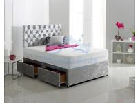 🔰🔰BEST QUALITY & PRICE🔰🔰 DOUBLE CRUSHED VELVET DIVAN BED BASE WITH DEEP QUILTED MATTRESS