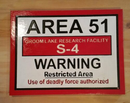 Area 51 routed wood bar prop sci fi plaque sign Custom