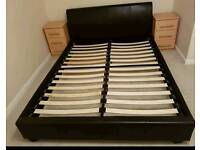 Leather king size bed with mattress