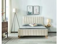 Popular Bed Frame-Stylish Plush Velvet Lucy Bed Frame in Cream and Beige Color Options