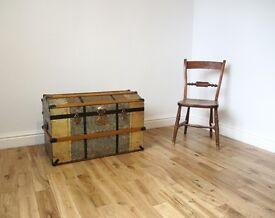Vintage Domed Metal Trunk / Blanket Chest / Storage Trunk