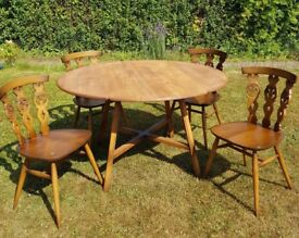 Vintage Ercol Dropleaf Table & 4 Chairs