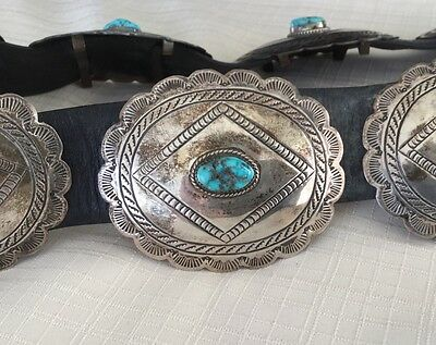 Vintage Native American Navajo Concho Belt Silver with Turquoise