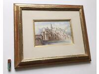 Antique Watercolour Painting Menton French Riviera Burnished Gilt Frame Late 19th Century