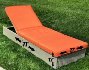 Outdoor Patio Furniture Chaise Lounge - Beige with Orange Cushions - Brand New Ontario Preview