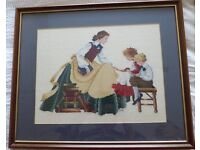 """Framed cross stitch embroidery """"The Governess""""."""