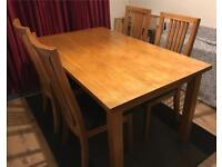 Furnitute Village Dining table and 4 Leather Padded Chairs For Sale Delivery Available