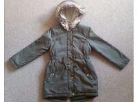 Girls khaki parka coat age 7-8y