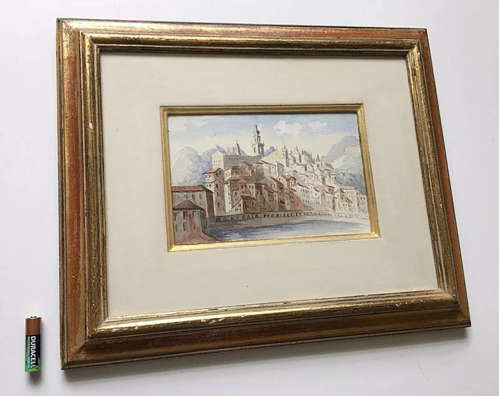 Antique Watercolour Painting Menton French Riviera Burnished Gilt ...
