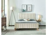 cash on delivery-Stylish Plush Velvet Lucy Bed Frame in Cream and Beige Color Options