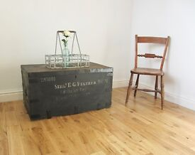 Vintage Pine Military Trunk / Storage Chest / Coffee Table