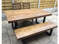Large Reclaimed Timber Dining Table. Bench & Chairs. New / Unused.