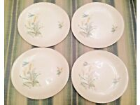 4 vintage / antique dishes made in England with country life motif