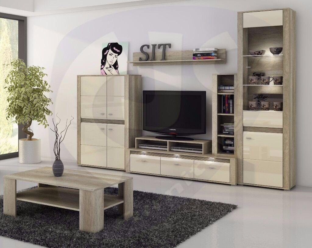Living Room Set Campari 6 Pieces Elegant Storage Tv Unit