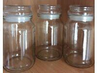 Empty Douwe Egberts large glass jars x 3 190g jars