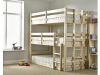 Three Tier Bunkbed - 3ft Single Triple sleeper Bunk Bed - VERY STRONG BUNK