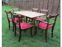 Retro dining gate leg drop leaf table & 6 Vintage dining chairs detachable seats solid wood chairs
