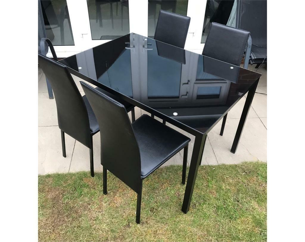 reputable site 1442e 45af7 Argos Home Lido Glass Dining Table & 4 Chairs - Black | in Winslow,  Buckinghamshire | Gumtree
