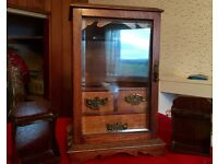 Pipe Smokers Victorian Cabinet with Pipe Rack Book Ends