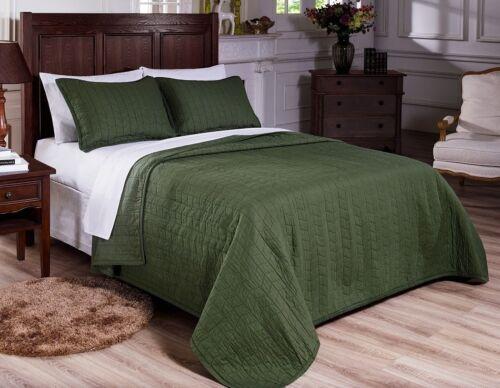3-Piece Vintage Washed Solid Cotton Quilt plus Pillow Shams