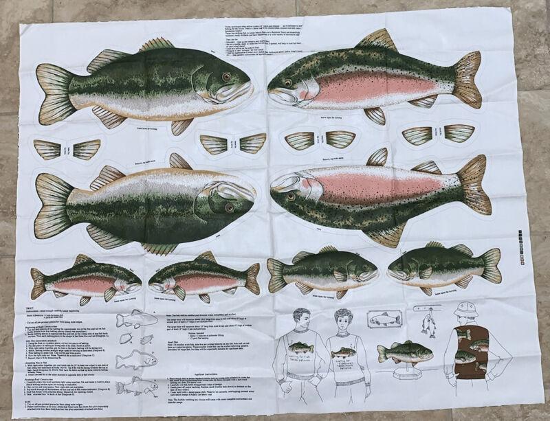 "Vintage Cranston Print Works Bass Trout Fish Pattern Cut & Sew Fabric ~ 35""x45"""