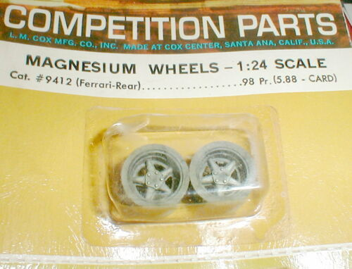 "Cox Ferrari Standard Rear Slot Car Mag Wheels 1/24 NOS 1/8"" Axle with 5:40 #4912"