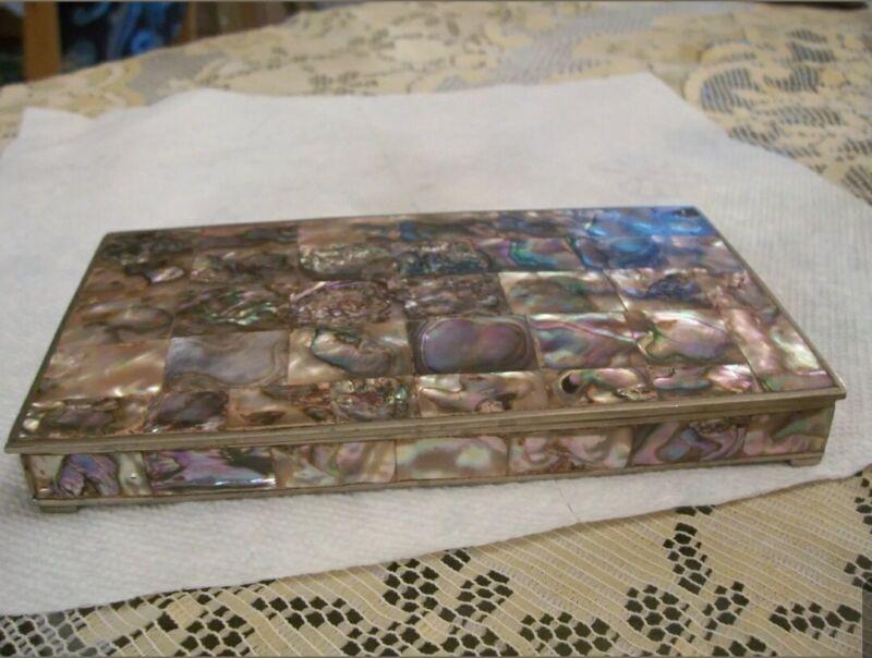 AMAZING MEXICO SILVER ABALONE SHELL TRINKET / JEWELRY BOX