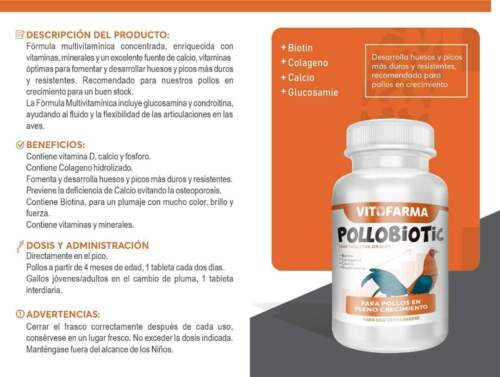 VITAMIN FOR  ROOSTER/ GALLOS  POLLOBIOTIC 100 TABS    * EXP 01/23*